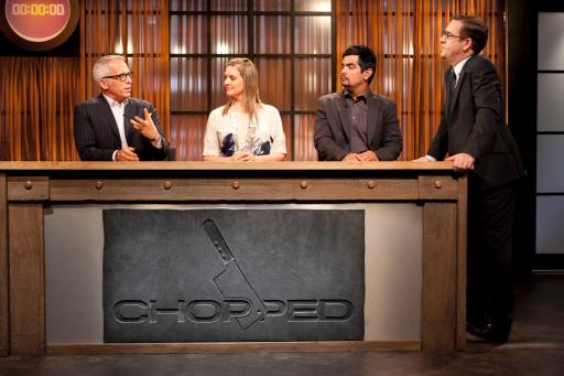 Ted with Chopped judges Geoffrey, Amanda, and Aarón