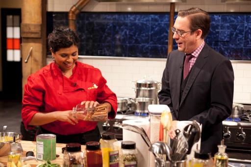 Aarti Sequeira & host Ted Allen