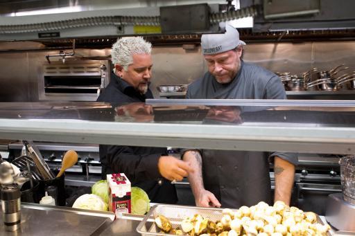 Guy Fieri and Dean McDermott on Food Network's Rachael vs. Guy Celebrity Cook-Off