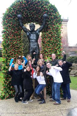 """Teva and Parkinson's Unity Walk covered the Rocky statue for """"CommUNITY: Carrying the PD Torch."""" (4)"""