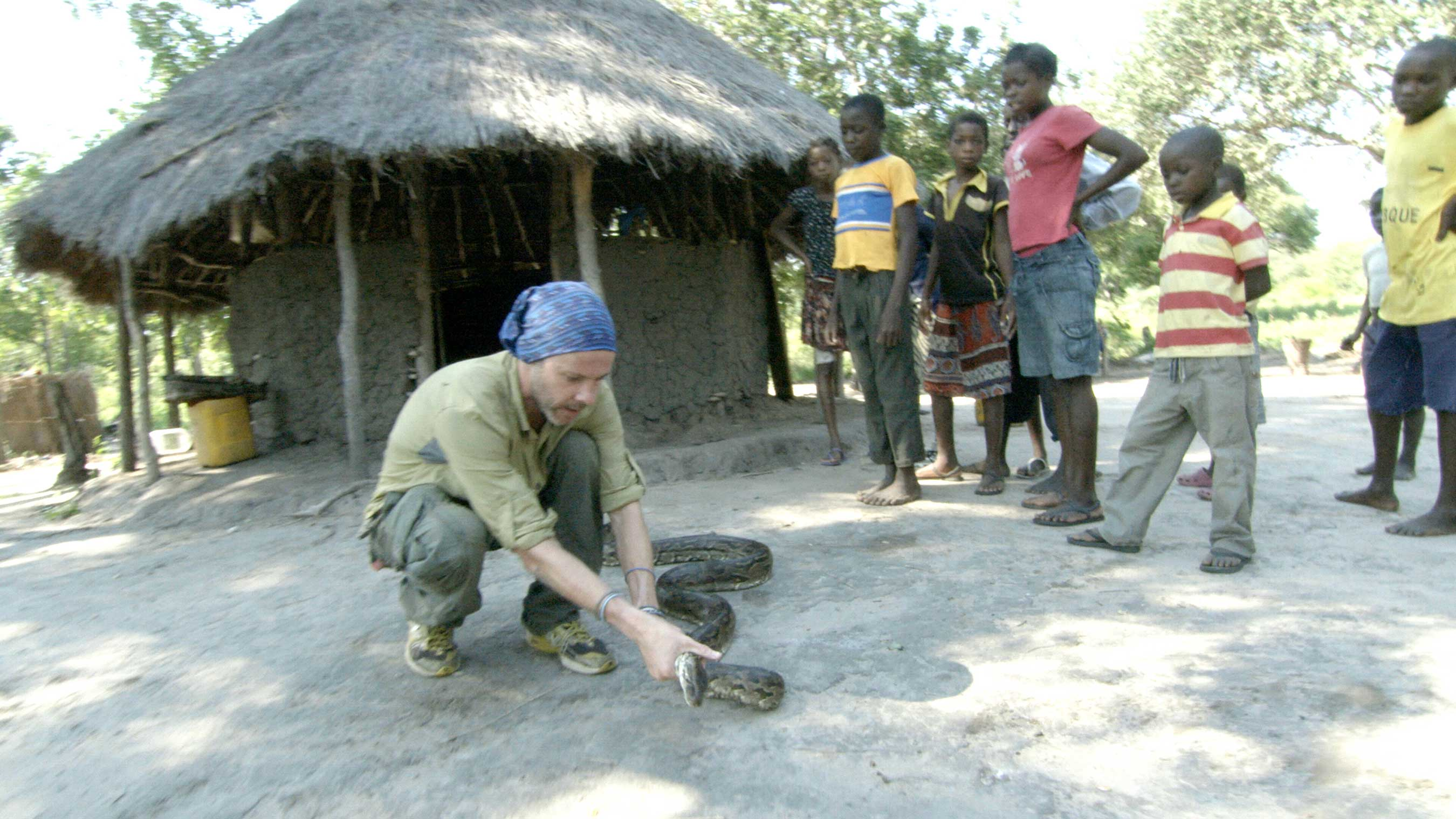 In Mozambique, Dominic Monaghan attends to a wounded rock python that a group of schoolchildren discovered nearby.