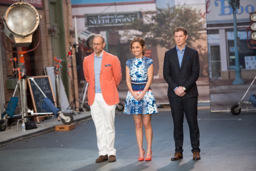 Alton Brown, Giada De Laurentiis and Bobby Flay greet the finalists on Food Network Star