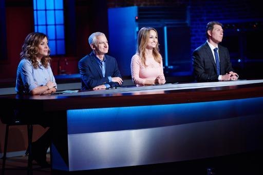 Susie Fogelson, Bob Tuschman, Giada De Laurentiis and Bobby Flay during judging on Food Network Star