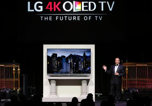 LG Electronics' Tim Alessi unveils the first of its kind Ultra HD 4K OLED TV