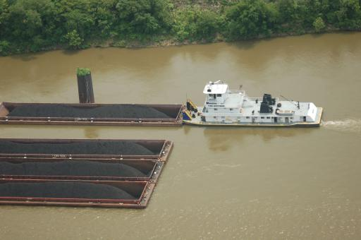 Coal barges on the Ohio River leaving from Marshall County Mine loadout