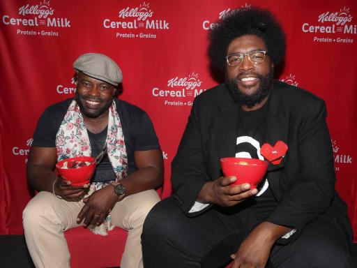 Black Thought and ?uestlove, members of The Roots, at the Kellogg's Recharge Bar