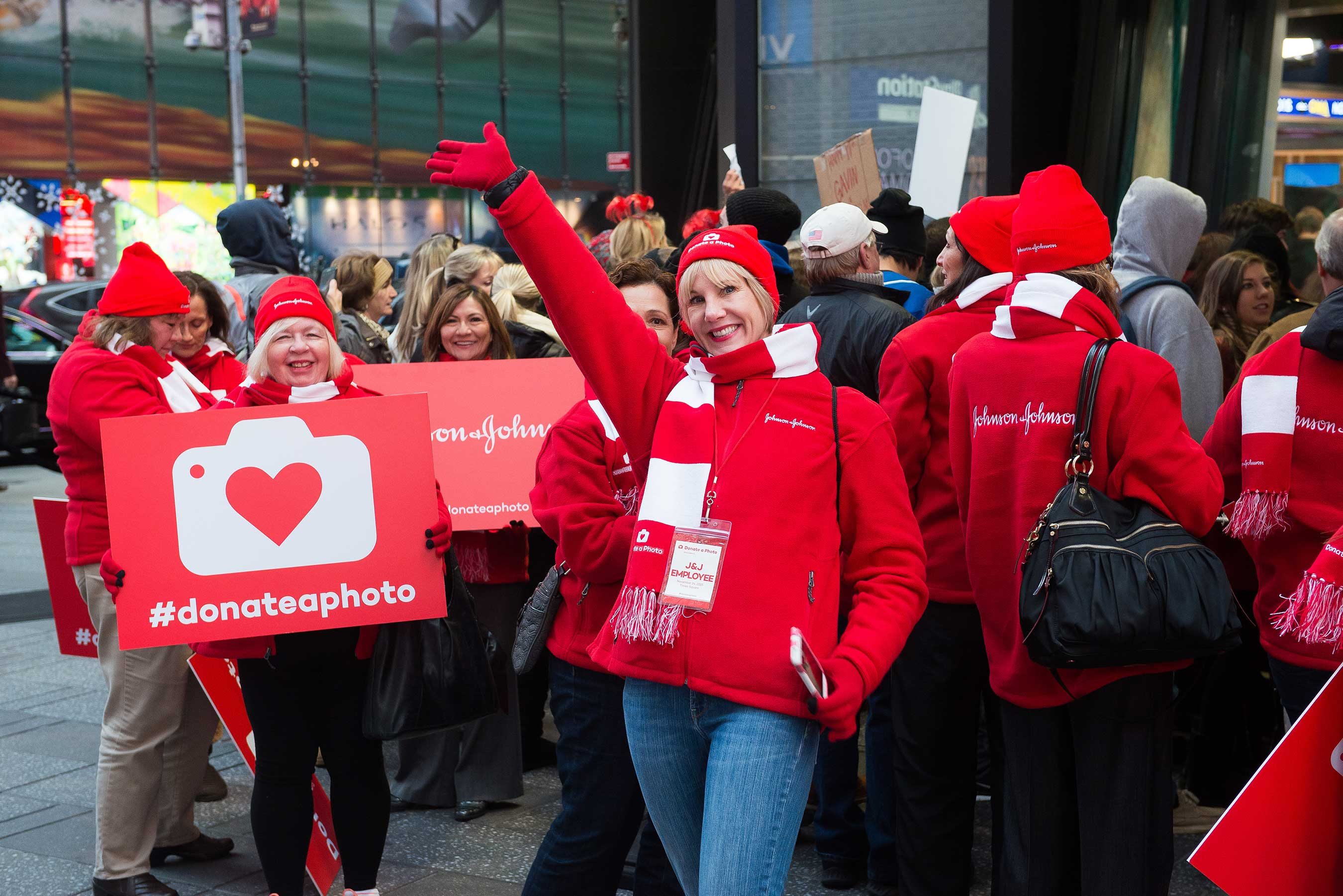 Johnson & Johnson kicks off the season of giving with Donate a Photo interactive giving experience in Times Square.