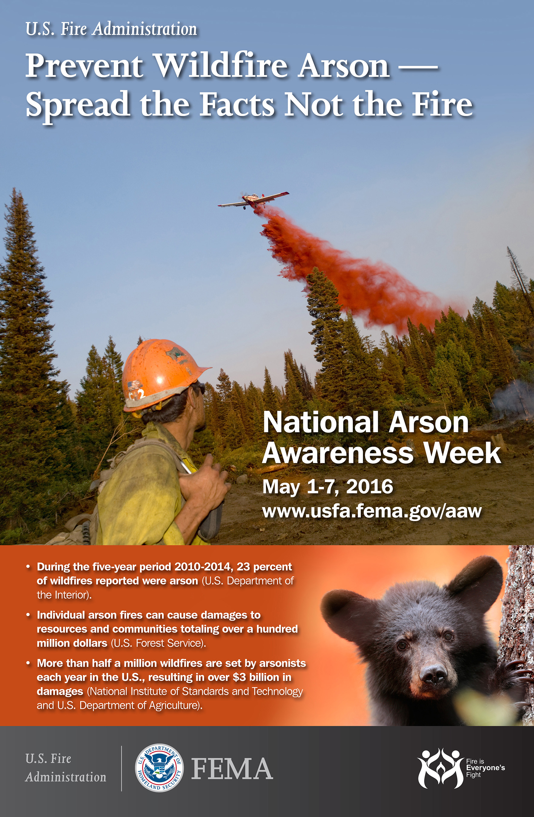 """Each year the U.S. Fire Administration shares information to raise awareness about the crime of arson. For 2016 Arson Awareness Week, the theme is """"Prevent Wildfire Arson – Spread the Facts Not the Fire""""."""