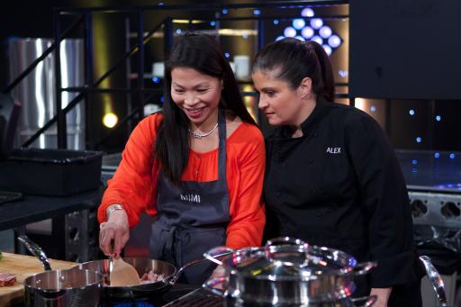 Contestant Mimi Chang with Mentor Alex Guarnaschelli on Food Network's All-Star Academy