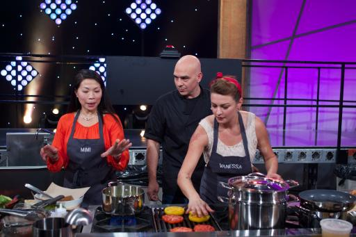 Contestants Mimi Chang and Vanessa Craig with Mentor Michael Symon
