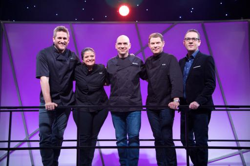 Mentors Curtis Stone, Alex Guarnaschelli, Michael Symon and Bobby Flay with Host Ted Allen
