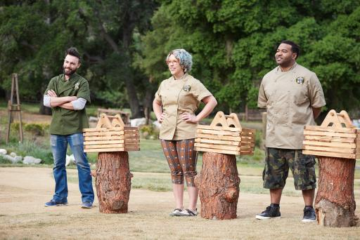 Contestants Trevor Ball, Emily Ellyn and Demarco Ellis on Food Network's Camp Cutthroat