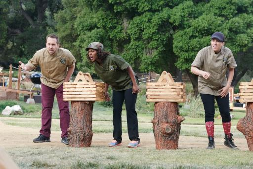 Contestants Jack Taylor, Candice Wilson and Robyn Almodovar on Food Network's Camp Cutthroat