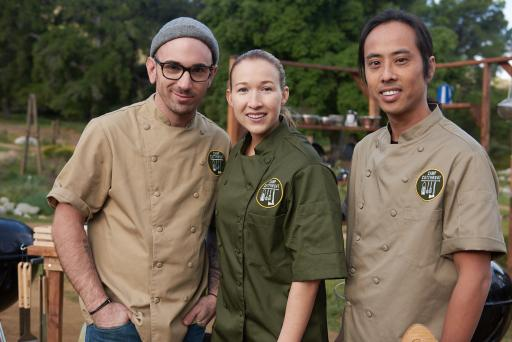 Contestants Clay Carnes, Jessica Entzel and Hop Phan on Food Network's Camp Cutthroat