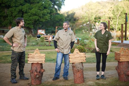 Contestants Emmanuel Delcour, Ruddy Bello and Monterey Salka on Food Network's Camp Cutthroat