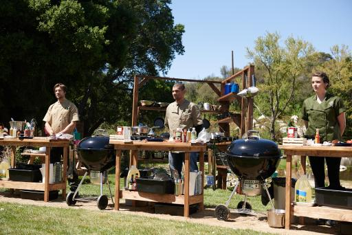 Emmanuel Delcour, Ruddy Bello and Monterey Salka compete on Food Network's Camp Cutthroat