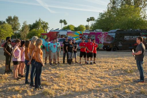 Host Tyler Florence Greets the Team on Food Network's The Great Food Truck Race