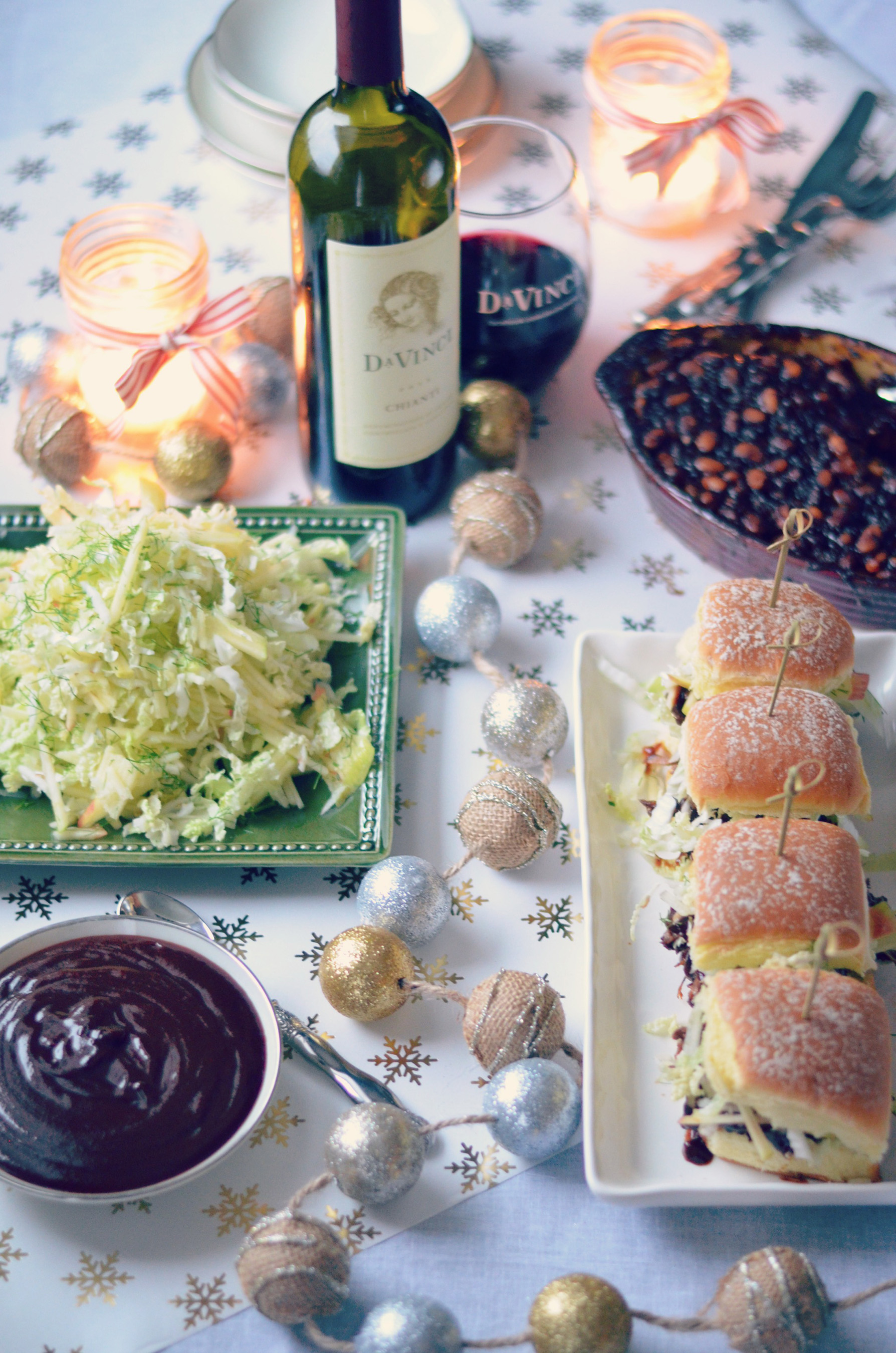 A holiday spread of Southern-Style Pulled Pork with Chianti Barbecue Sauce, Apple Fennel Slaw and Homemade Baked Beans