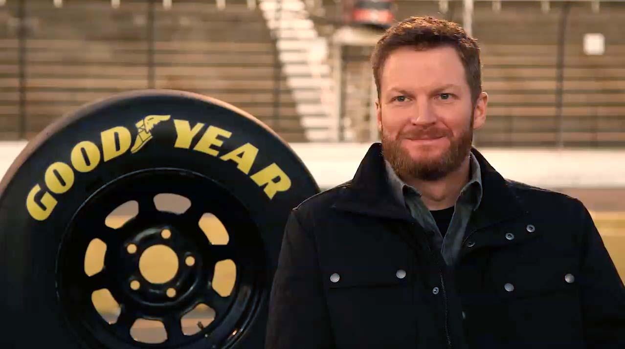 On 2/17, Dale Jr. announced a relationship with Goodyear and will serve as the featured expert who chooses Goodyear tires on and off the track in a new ad campaign.