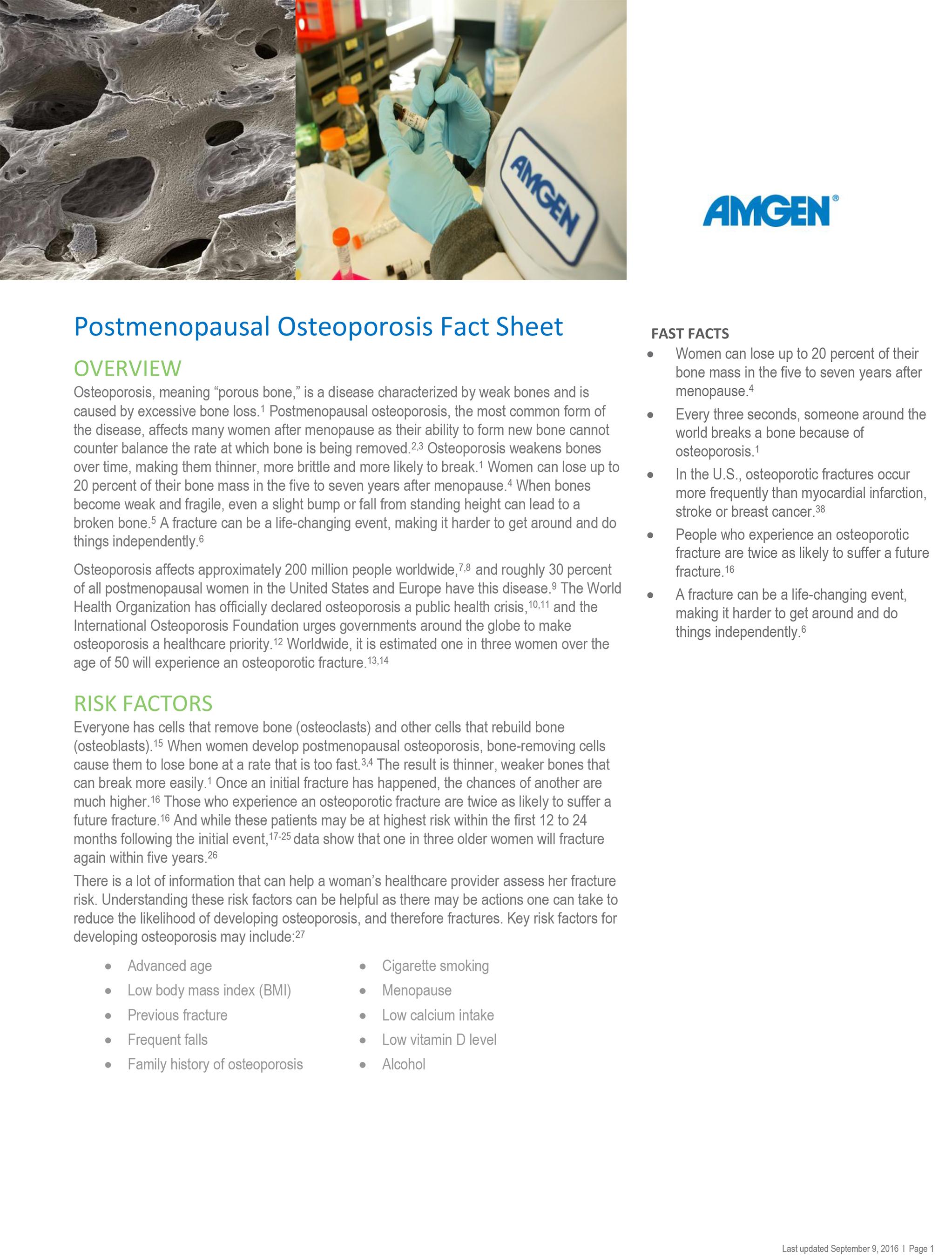 Postmenopausal Osteoporosis Fact Sheet