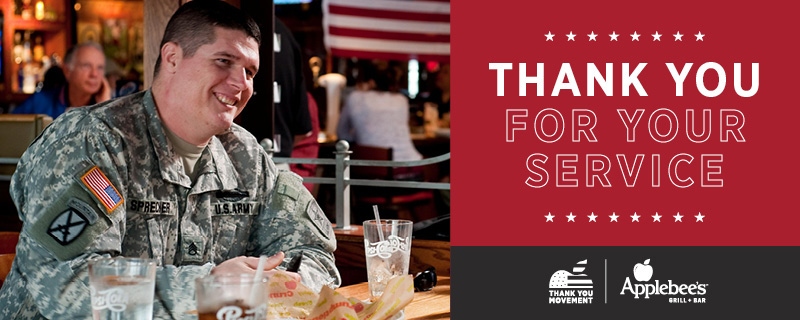 Applebee's thanks all veterans and active military personnel for their service this Veterans Day!