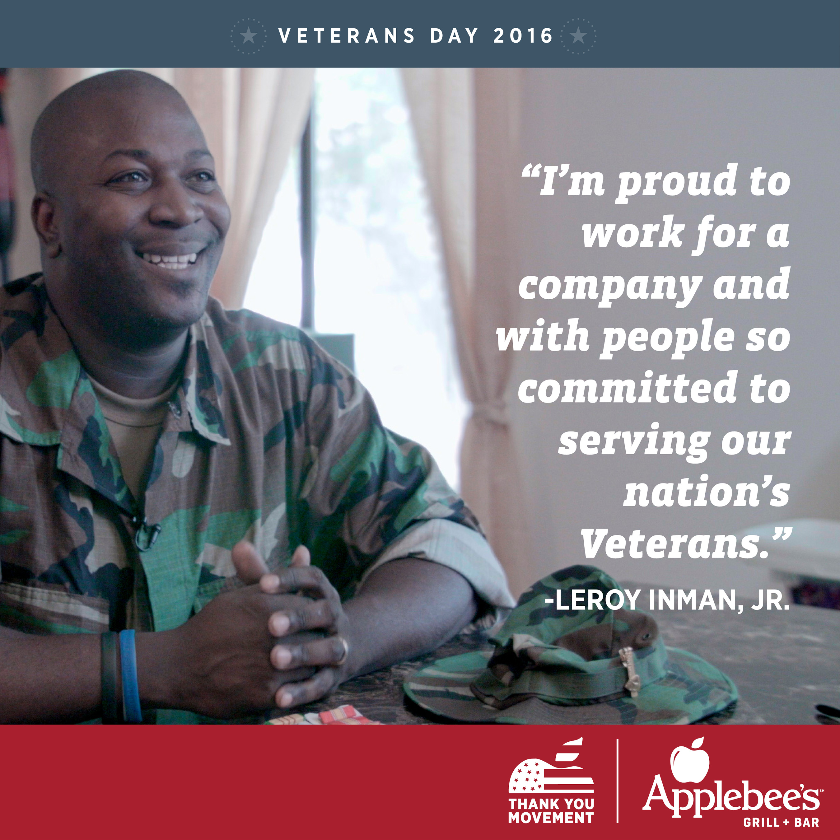 Leroy Inman, Jr., Applebee's employee and veteran, shares why he's proud to serve his country.