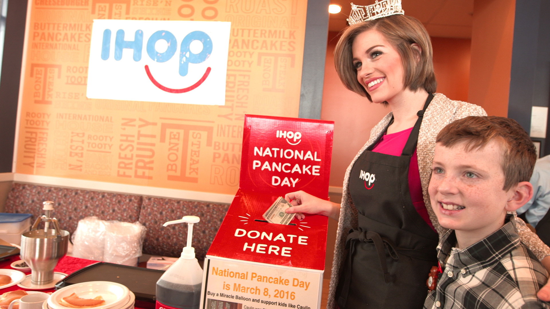 Miss America, Betty Cantrell, makes a donation to Dayton Children's Hospital leading up to IHOP's National Pancake Day, March 8
