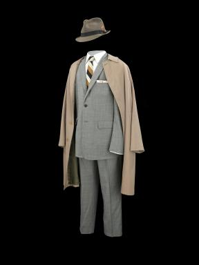 "Grey suit, fedora and trench worn by Don Draper (Jon Hamm) throughout the series ""Mad Men"""
