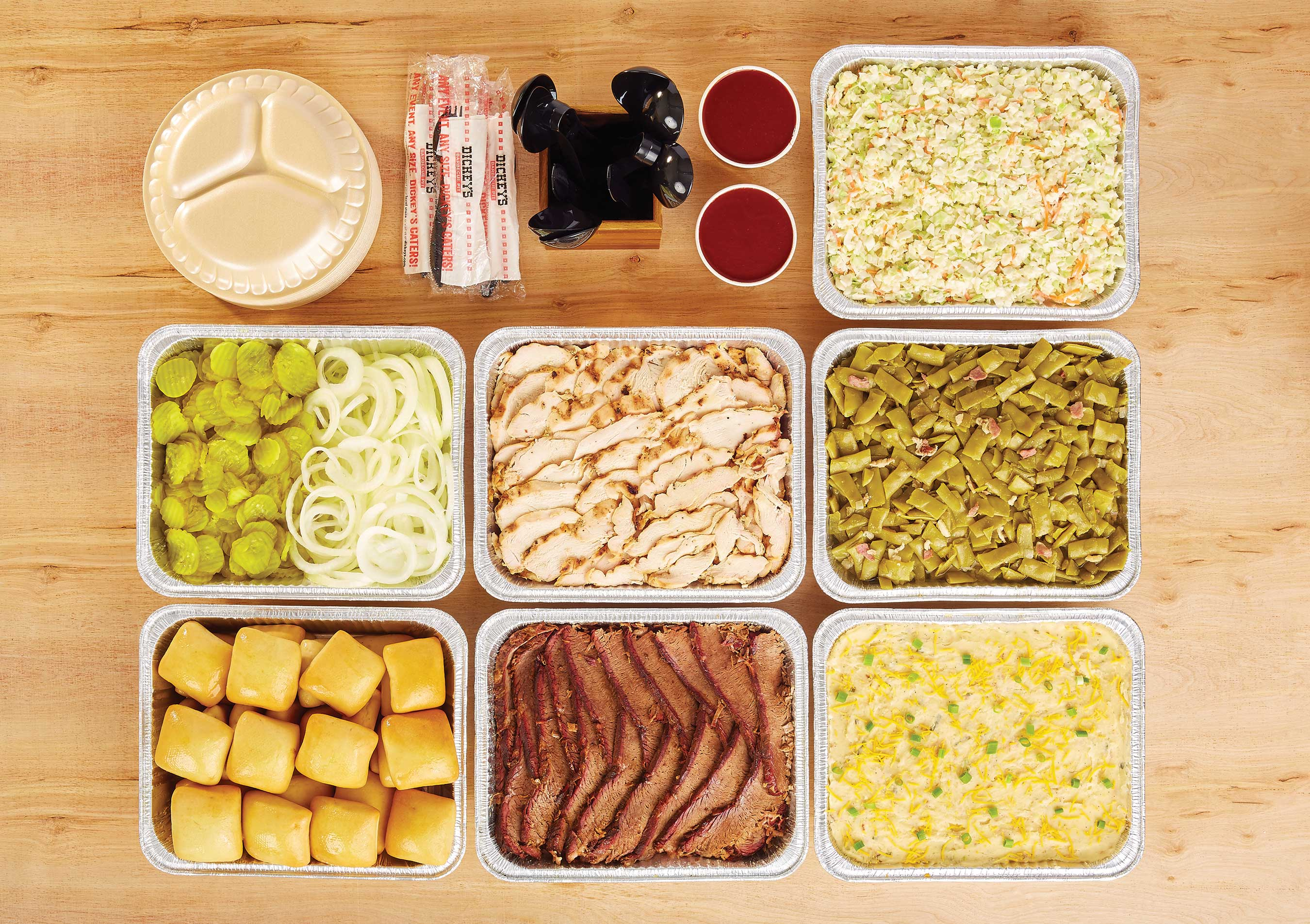 Dickey's Thanksgiving feast includes traditional stuffing, gravy, baked potato casserole, green beans with bacon and our signature buttery rolls.