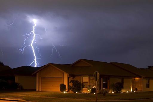 Lightning strike near a residential home