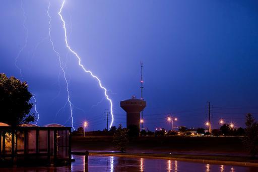 Lightning striking ground in Bloomington, IL