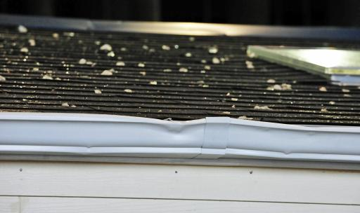 Hail Damage to Gutters