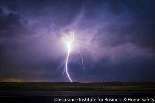 Cloud to ground lightning strike