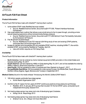 AIRTOUCH F20 FACT SHEET