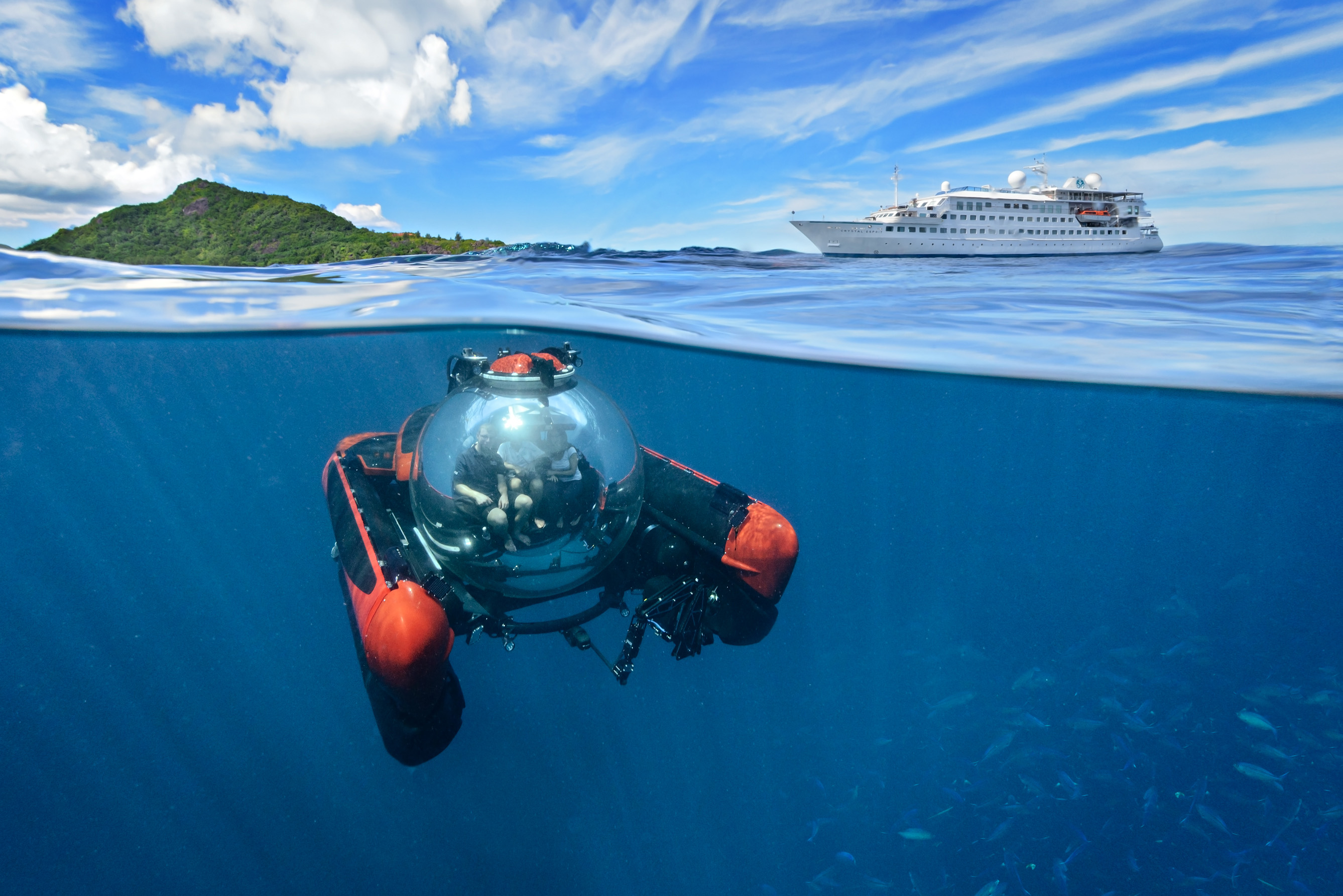 Offering approximately 30-minute expeditions for $599 per person, the Crystal submersible seats two guests and the vessel's operator, creating an especially exclusive atmosphere.