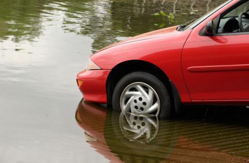 Car entering high water