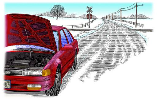 Stalled car in snow
