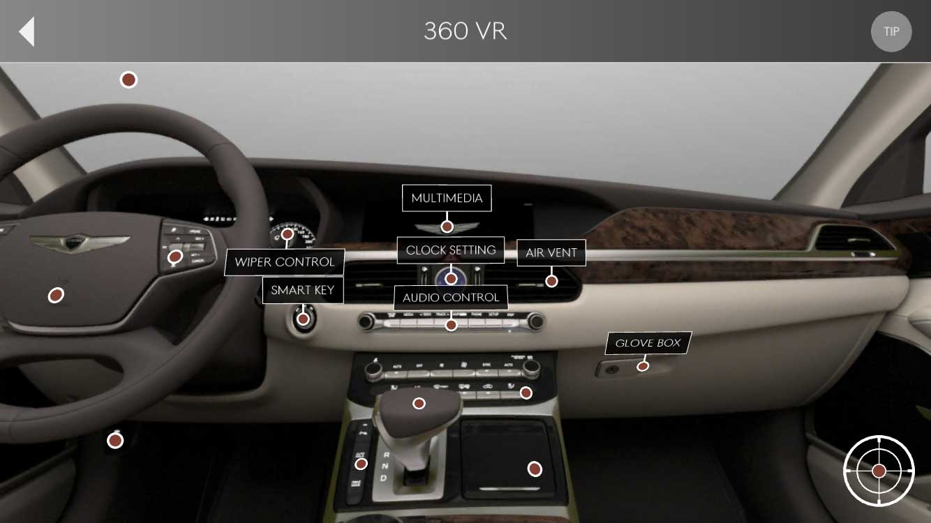 THE 360 VR TOOL GENERATES A 360 DEGREE VIRTUAL REALITY EXPERIENCE OF THE INTERIOR.
