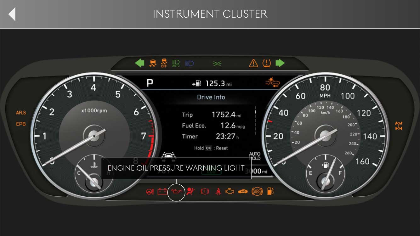 THE INSTRUMENT CLUSTER TOOL HELPS TO EDUCATE OWNERS ON WARNING AND INDICATOR LIGHTS AND POP-UP LCD MESSAGES.