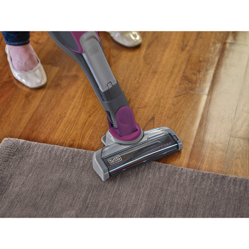 AutoSense™ Technology senses whether it's cleaning hardwood or linoleum or carpet and adjusts its power level accordingly, aiding cleaning by automatically boosting power as needed on high-pile carpet when using the stick vacuum.