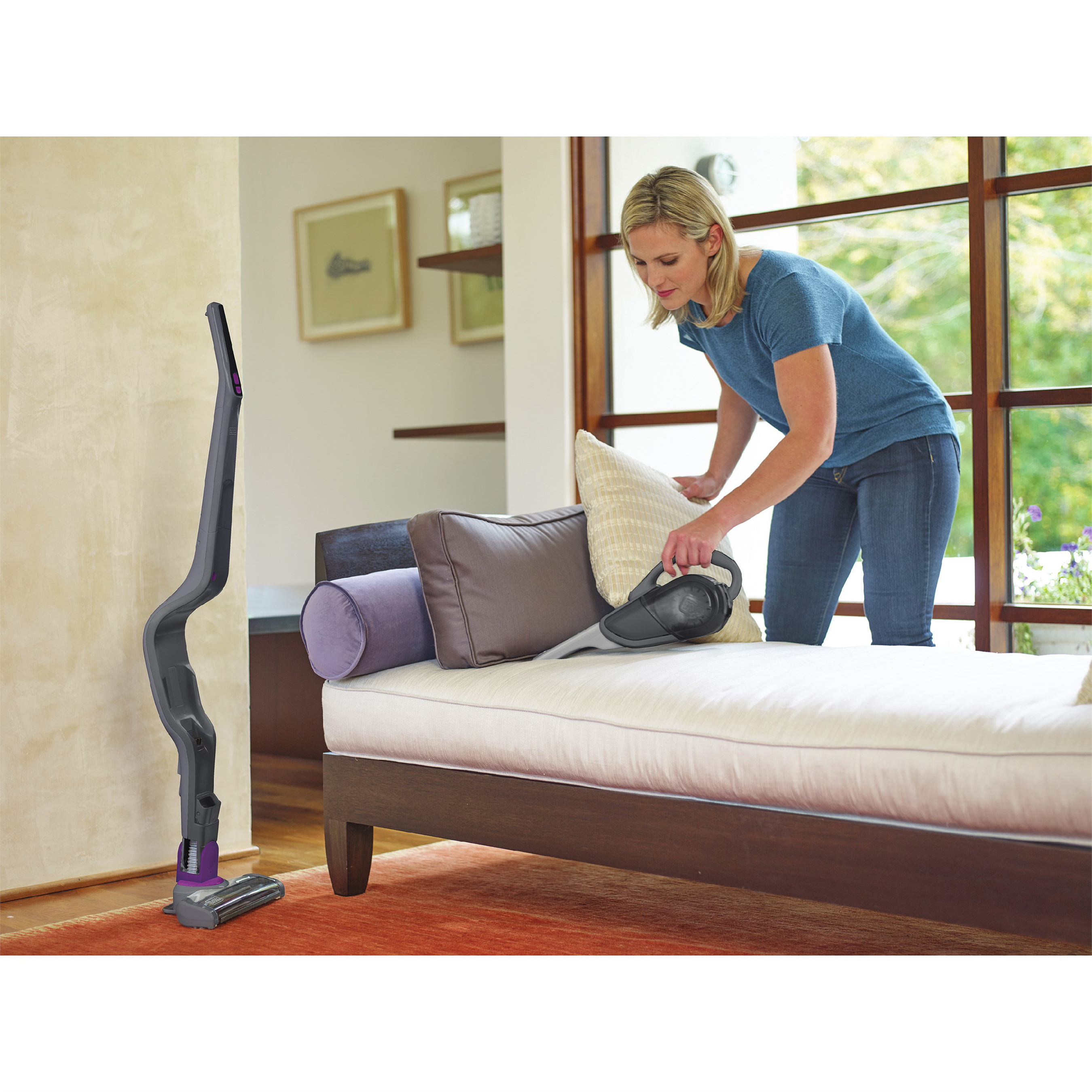 Ready when you are, this self-standing floor vacuum converts to a hand-vac for carpet-to-curtains home cleaning. SMARTECH™ sensing displays your battery and filter status as you work and automatically adjusts suction to the surface.