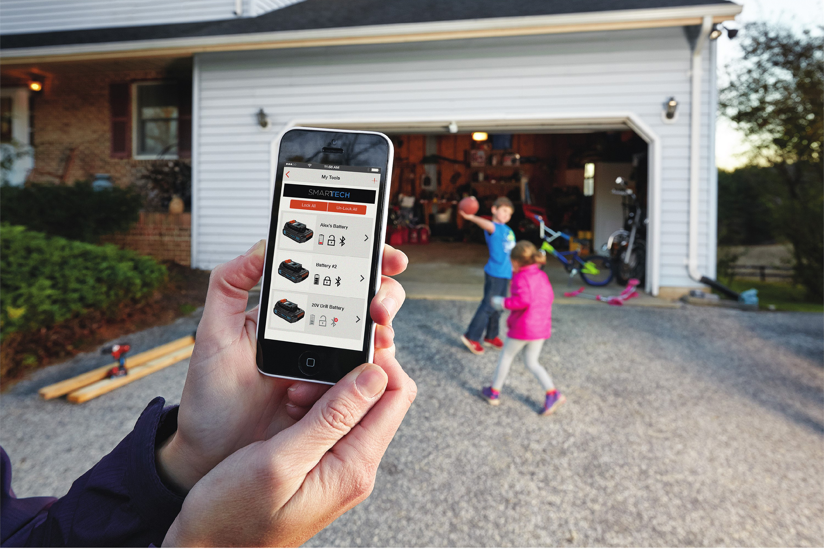 In the My Products section of the BLACK+DECKER™ Mobile App, users can not only view a list of their connected batteries, but they can also select and interact directly with an individual battery when in range.