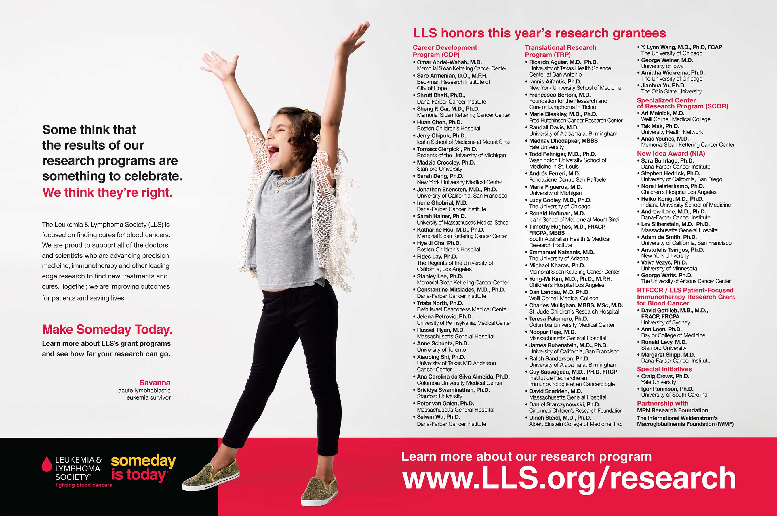 The Leukemia & Lymphoma Society's 2017 research grant recipients.