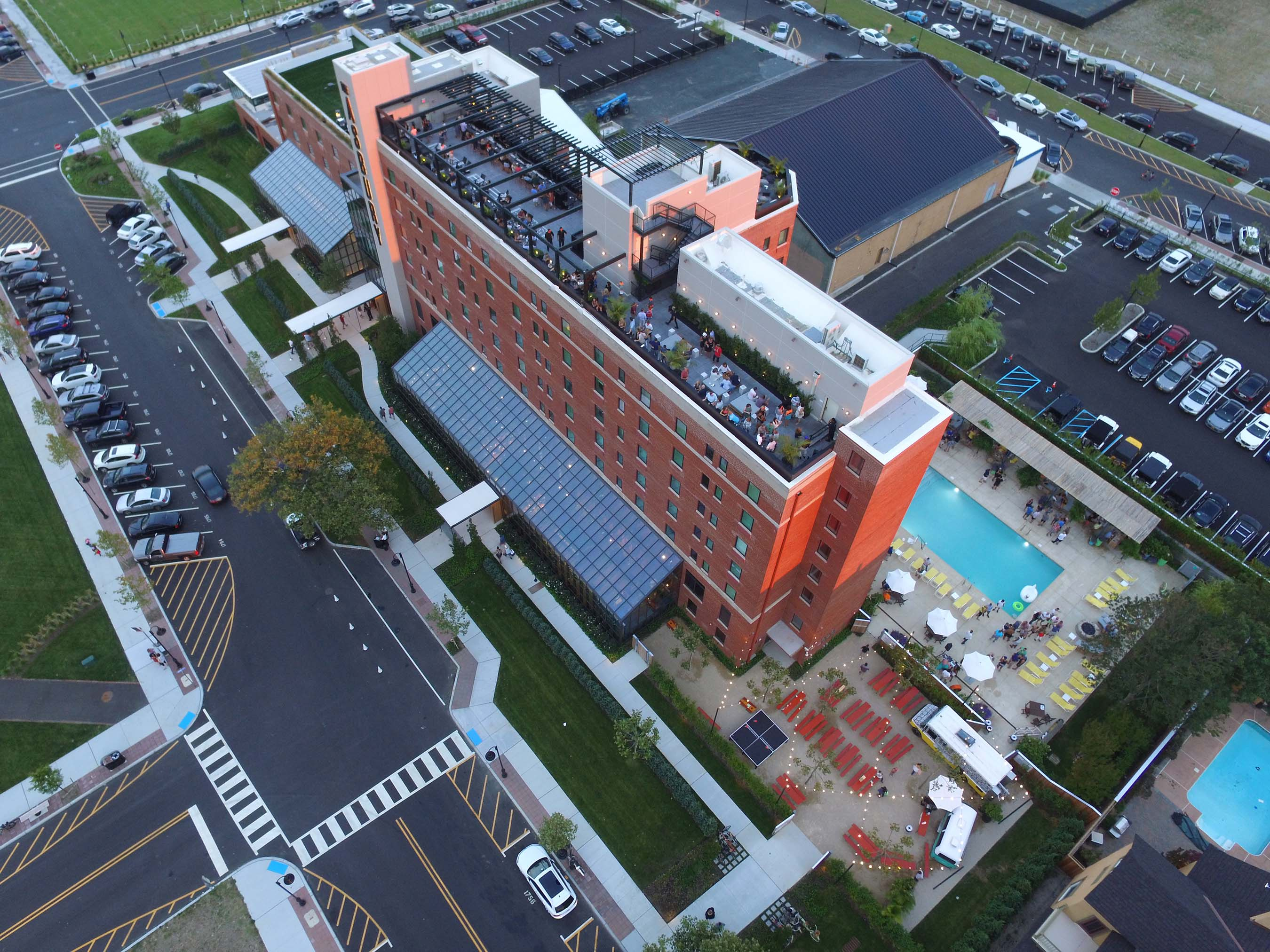 Aerial shot of the country's coolest new hotel, The Asbury