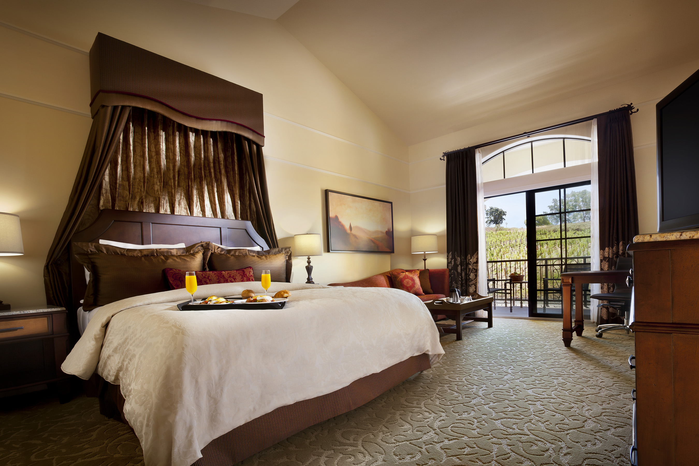 The Meritage Resort offers 322 guestrooms and suites, many with a private balcony or patio overlooking the beautiful Napa Valley.