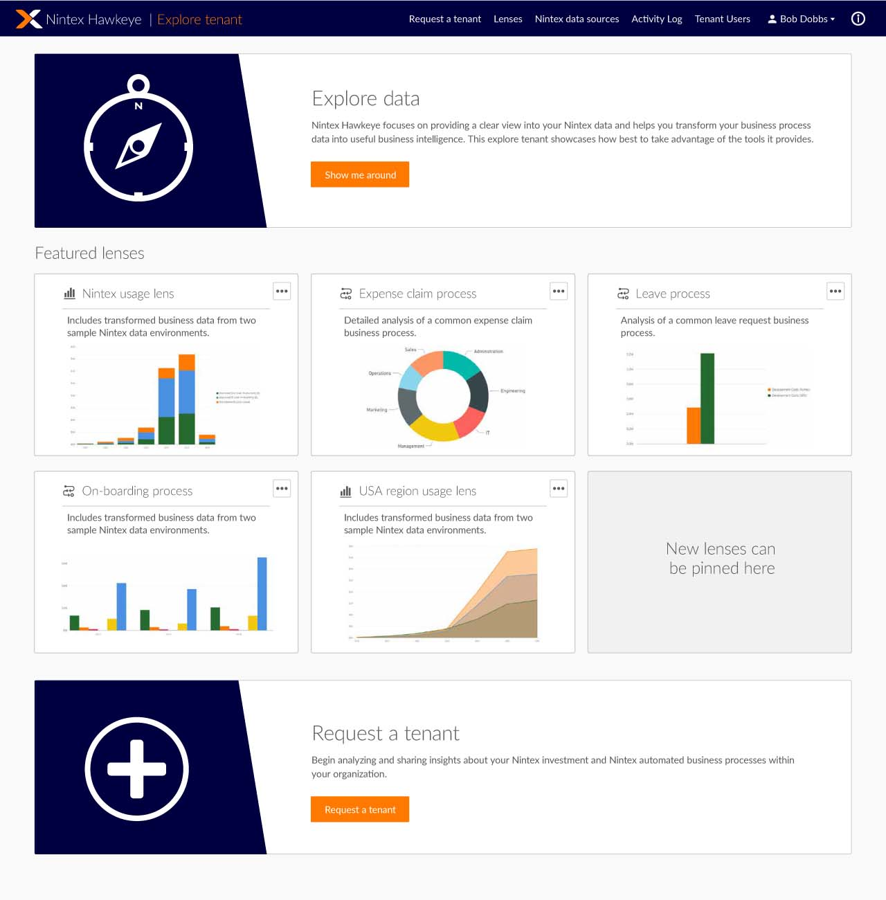 Nintex Hawkeye's Explorer Tenant features pre-populated processes so users can experience sample data and dashboards.