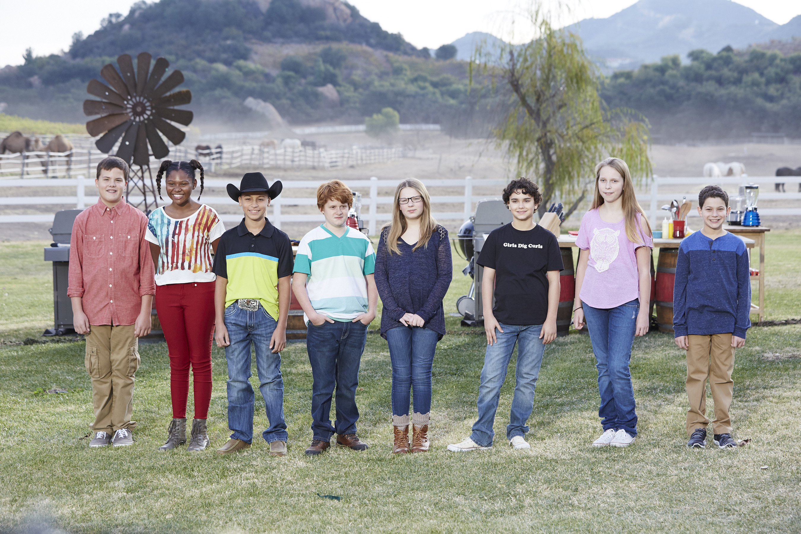 From left, competitors Carter Hull, Paris Hale, Ty Machado, Jacob Scott, Sydney Groves, LJ Ruth, Josie Burkhardt and Tyler Zager on Food Network's Kids BBQ Challenge