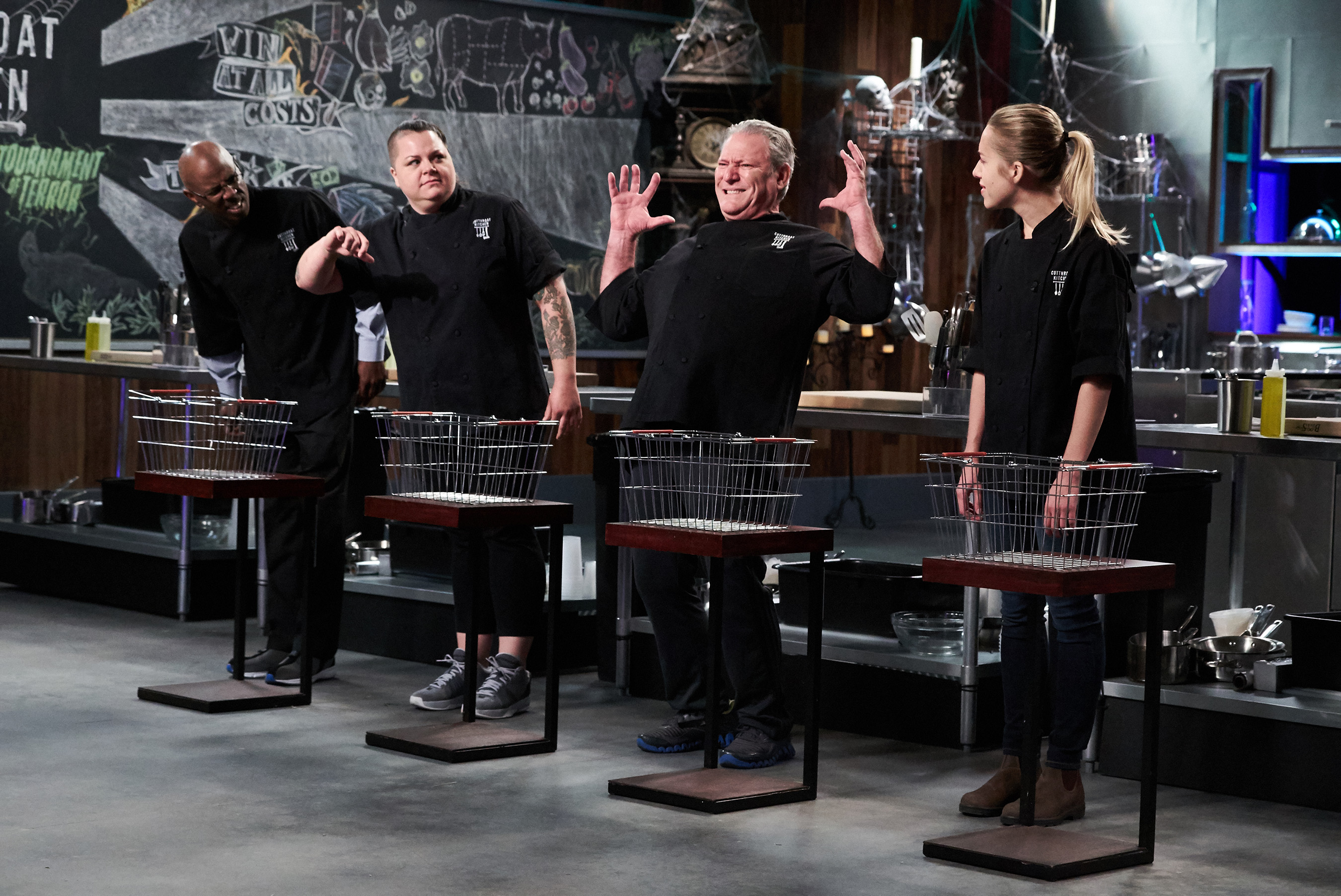 Contestants Ian Russell, Josephine Proul, Paul Friedman and Natalie Beck on Food Network's Cutthroat Kitchen: Tournament of Terror