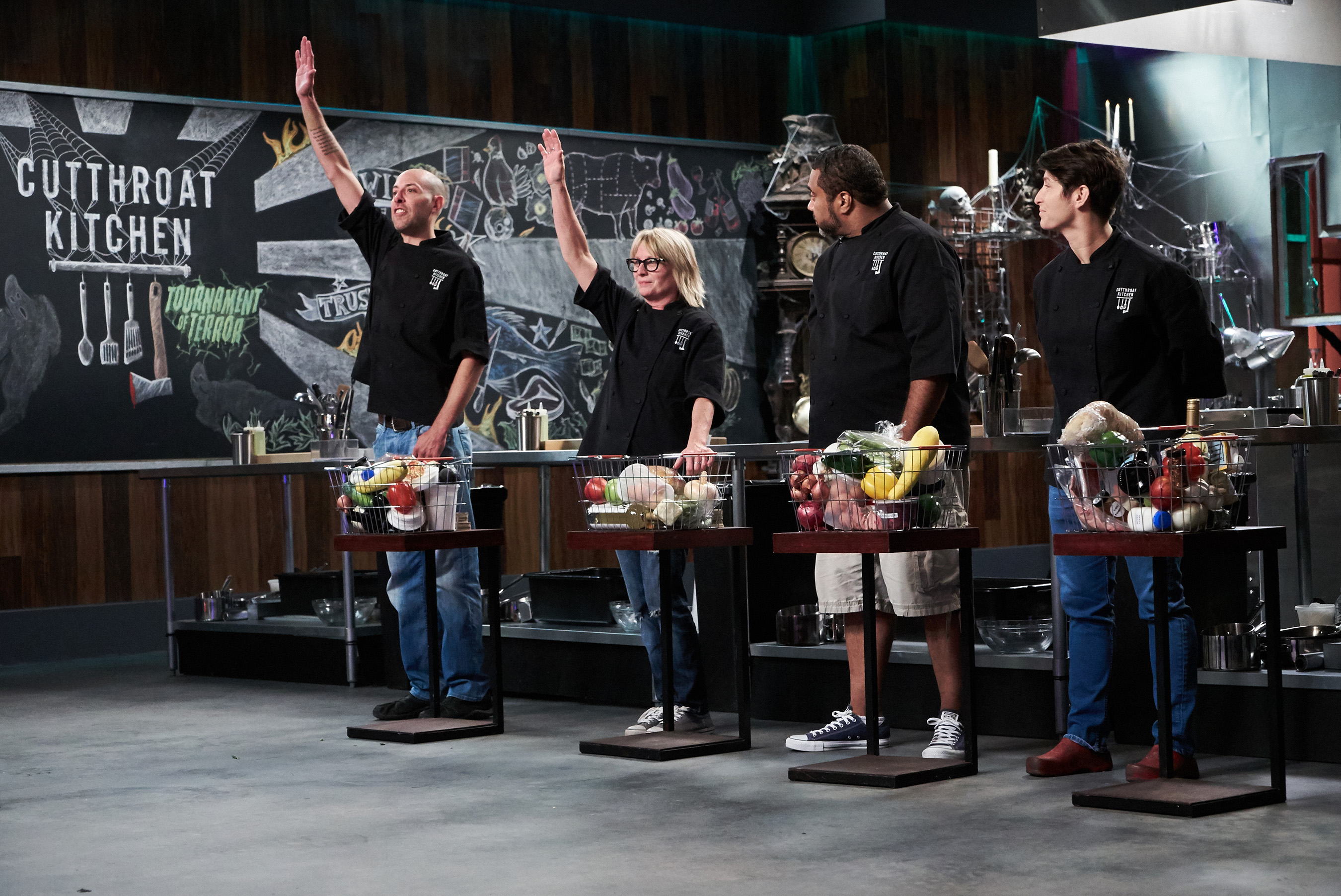 Contestants Trevor McGrath, Janet Ross, Irvin Williams and Rouha Sadighi on Food Network's Cutthroat Kitchen: Tournament of Terror