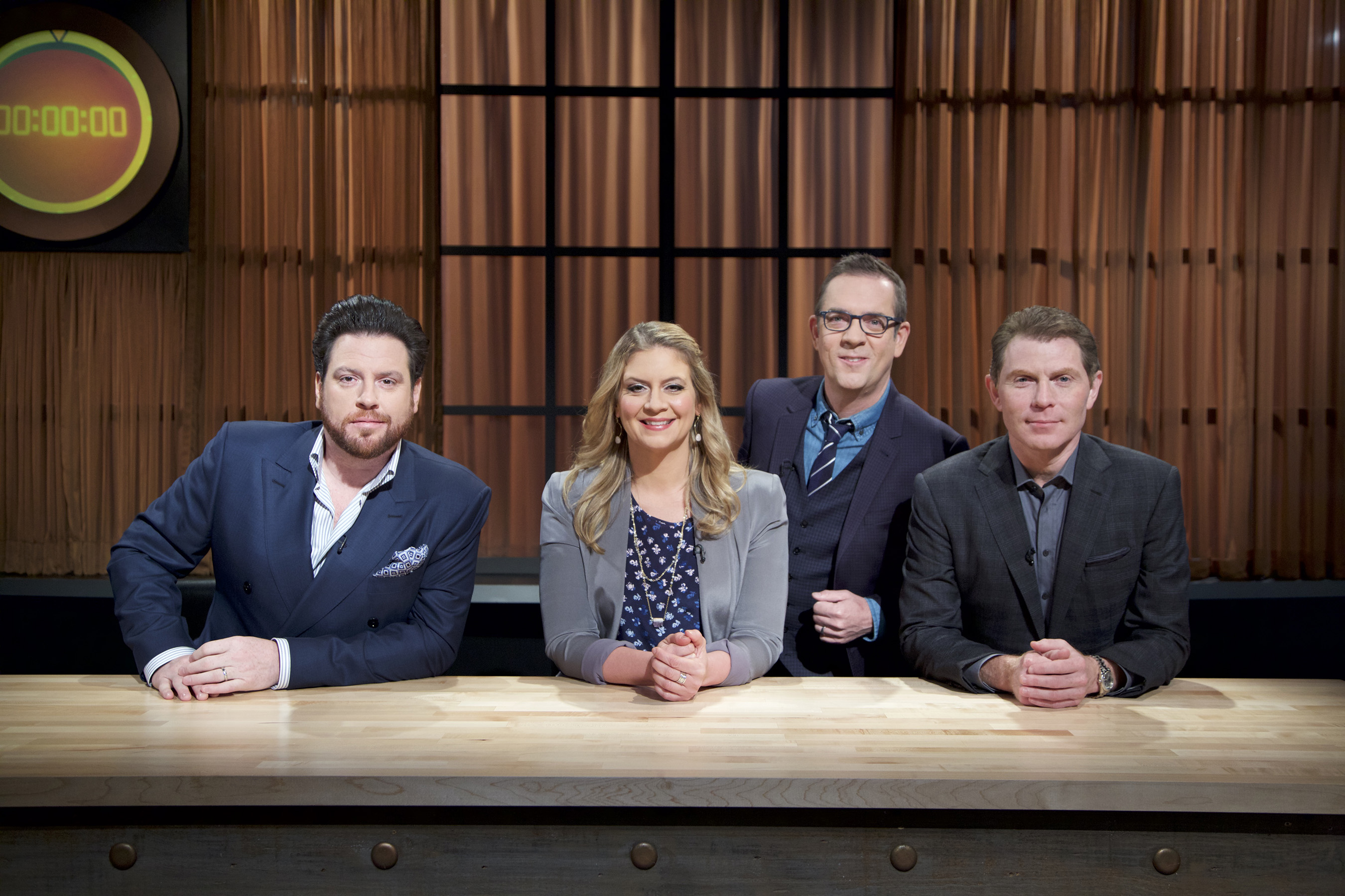Judges Scott Conant, Amanda Freitag, Host Ted Allen and Bobby Flay on Food Network's Chopped: Beat Bobby Flay